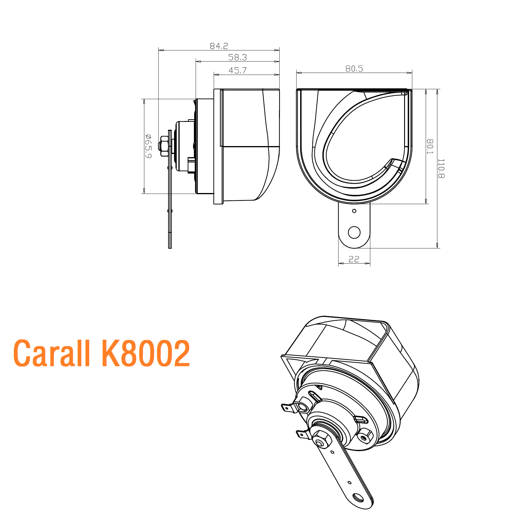 Carall K8002 Automechanika Twin Pack Magic Voice Emark Autoteile Autolautsprecher Auto Snail Horn