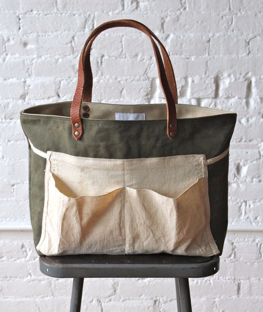 Waxed Canvas tote bag leather handle apron canvas tote bag