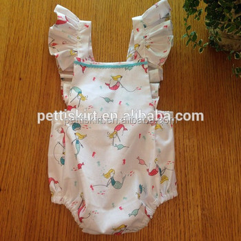 3698bc82e70b Newborn Baby New Coming Clothes Infant Boutique Romper Mermaid Patterns  Vintage Bodysuit Baby Girl Ruffle Sleeveless