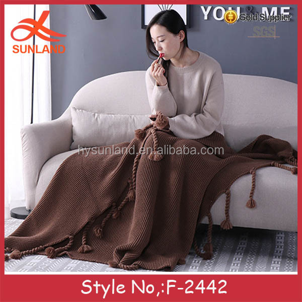 F-2442 new supper soft china suppliers knitting fringed blankets home textile blanket