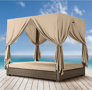 Queen sized outdoor patio chaise lounge with sunshade rattan day bed