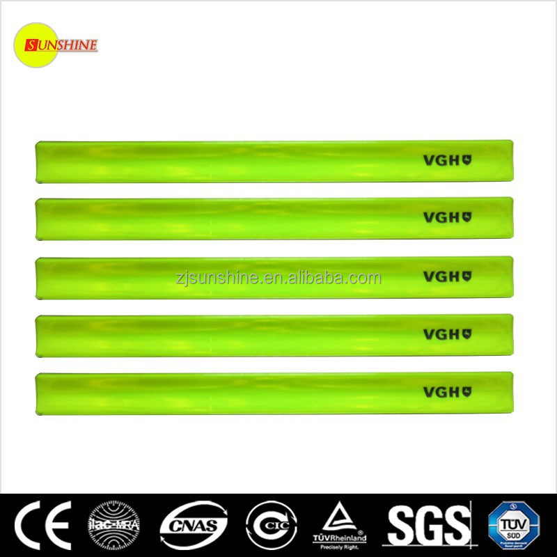 reflective slap bracelet Yellow plastic reflective slap bracelet