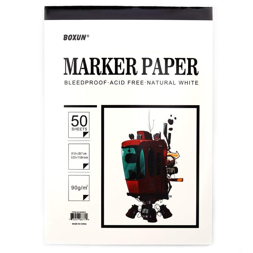 Boxun Premium 50 Sheets Sketch Marker Paper Pad, Bleedproof Artist Drawing Paper, 9 x 12 Inch