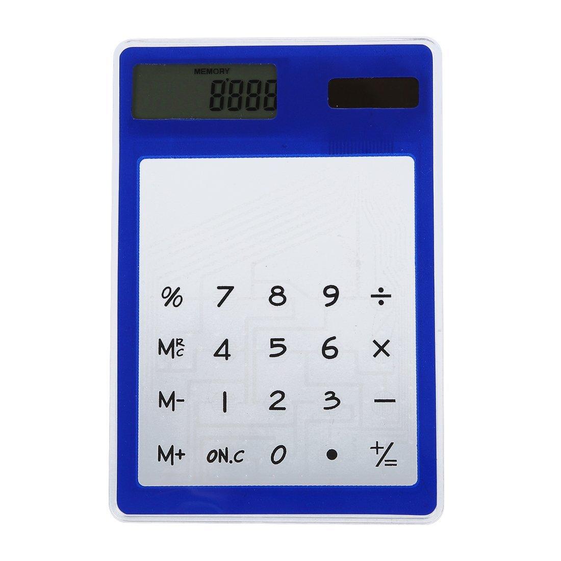 TOOGOO(R) Ultra Thin Touch Screen 8 Digit Solar Power Transparent Calculator Office Supply