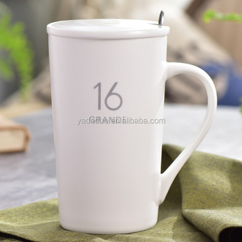 Clic 360 Ml Coffee Mug With Ceramic Cover Porcelain 16 Number Large Size Water Tea Cup