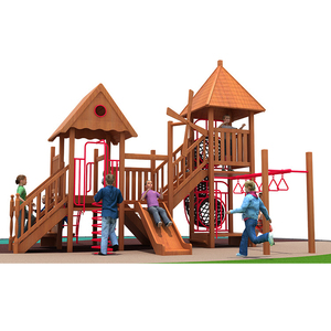 Professional production wooden playground outdoor multifunctional wooden small slide children playground equipment for sale