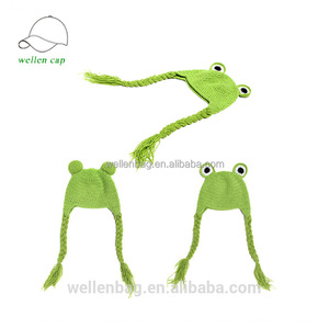dbcc3dd65 Wholesale cartoon animal frog knitted baby kids hat winter plush knitted  frog hat