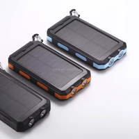 LED light waterproof solar power bank 10000mah charger dual USB solar charger