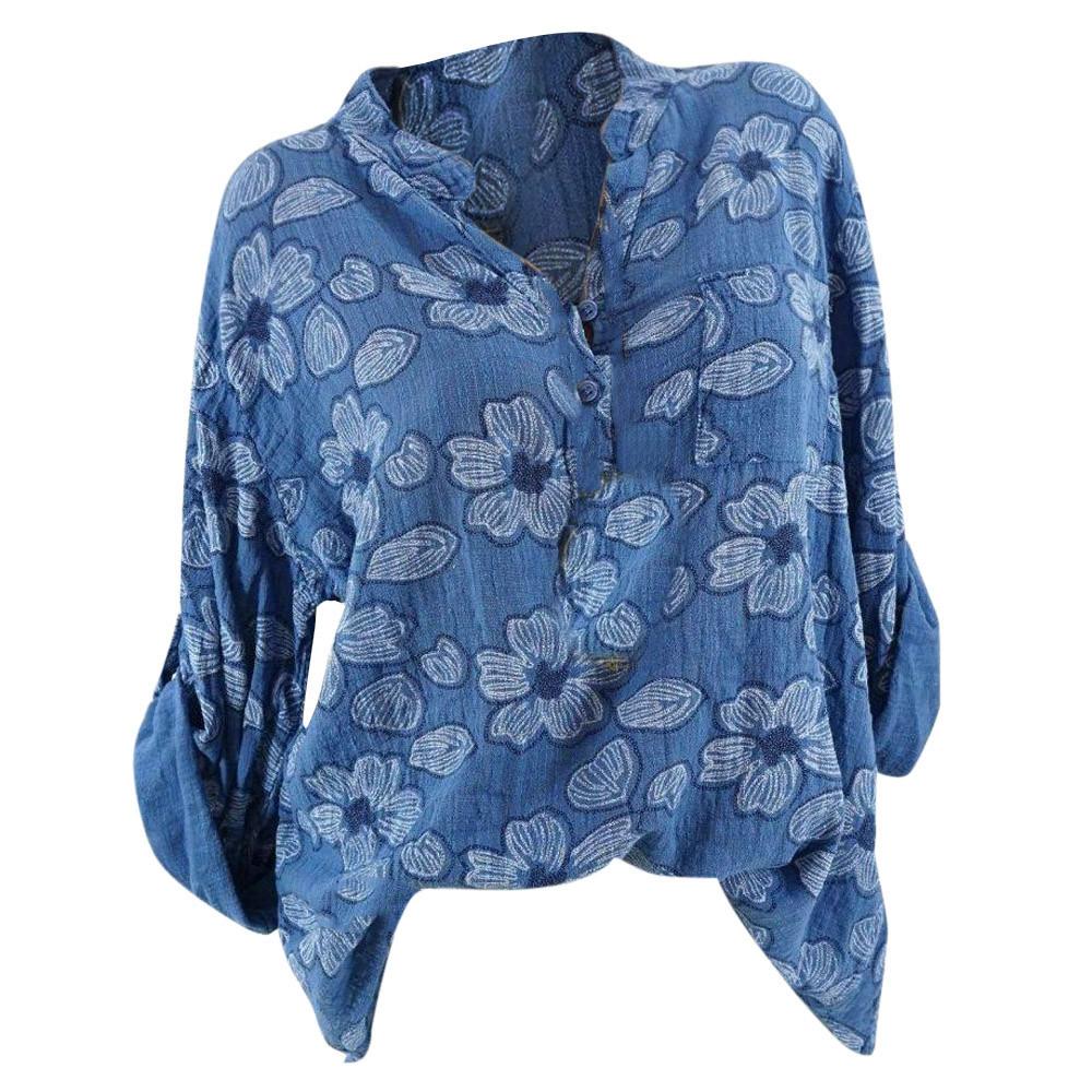 8126bc1a5e9 2019 Bohemian Style Women Plus Size Long Sleeve Blouse Ladies Floral ...
