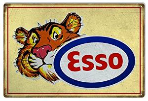 Yellow ESSO Tiger Motor Oil Reproduction Sign 12x18.