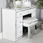 Bedroom furniture modern white glass mirrored wooden dressing table with mirror and stool