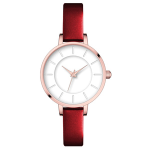 Best selling high quality minimalist 3ATM candy color quartz watch women wristwatches genuine leather strap for sale