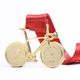 Promotion crafts cheap gold bicycle custom metal sports medal with ribbon