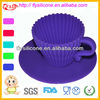 FDA&LFGB Approval Pleated Silicone Muffin Cake Cups With PP Saucer High Quality Wholesale