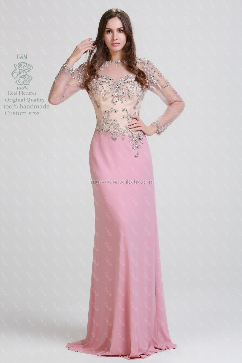 Elegant Sequins Embroidered Bodice A Line Long Sleeve Muslim ...