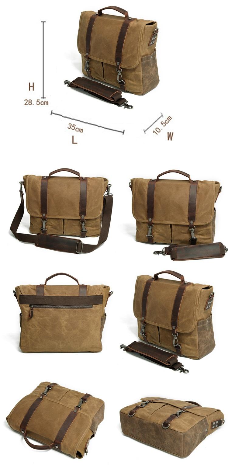 Elegant brand waterproof waxed canvas design unisex vintage DSLR Leather photograph messenger camera bag