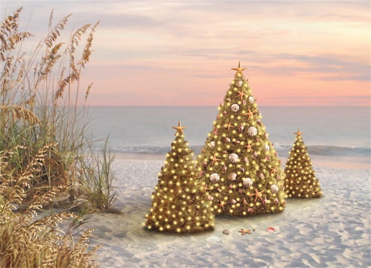 12 Christmas Cards and Envelopes, Shell Decorated Christmas Trees on the Beach
