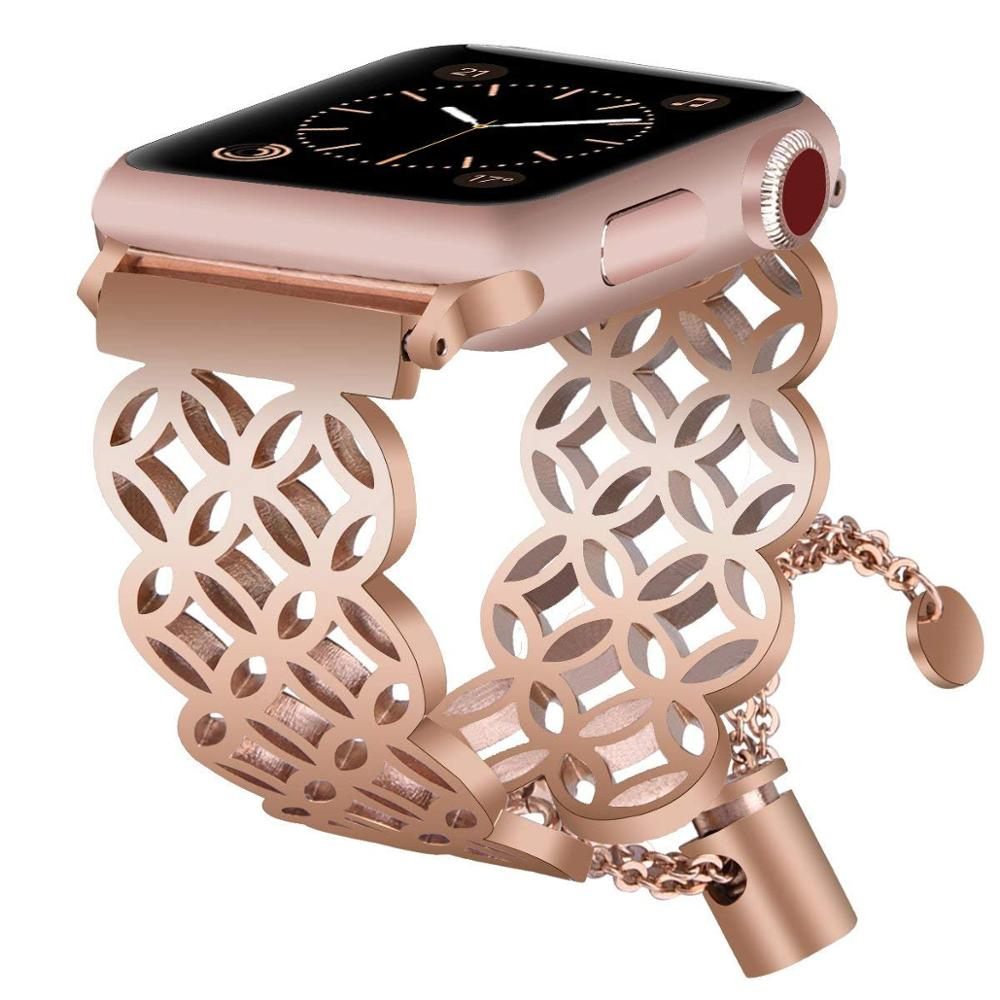 <strong>Apple</strong> Watch Band Fashion Hollow Stainless Steel Bangle Watch Strap, Mesh Watch Band for <strong>Apple</strong> Series 3/2/1
