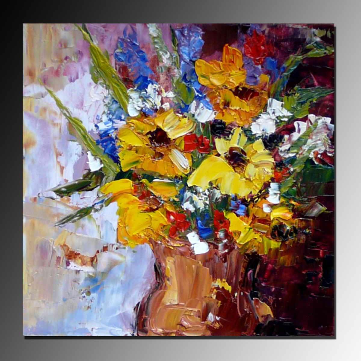 Impressionismo handmade fiori gialli in vasi dipinti ad for Fiori dipinti ad olio