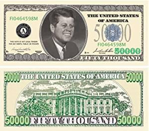 SET of 5-John F Kennedy Novelty 50,000 Dollar Bill