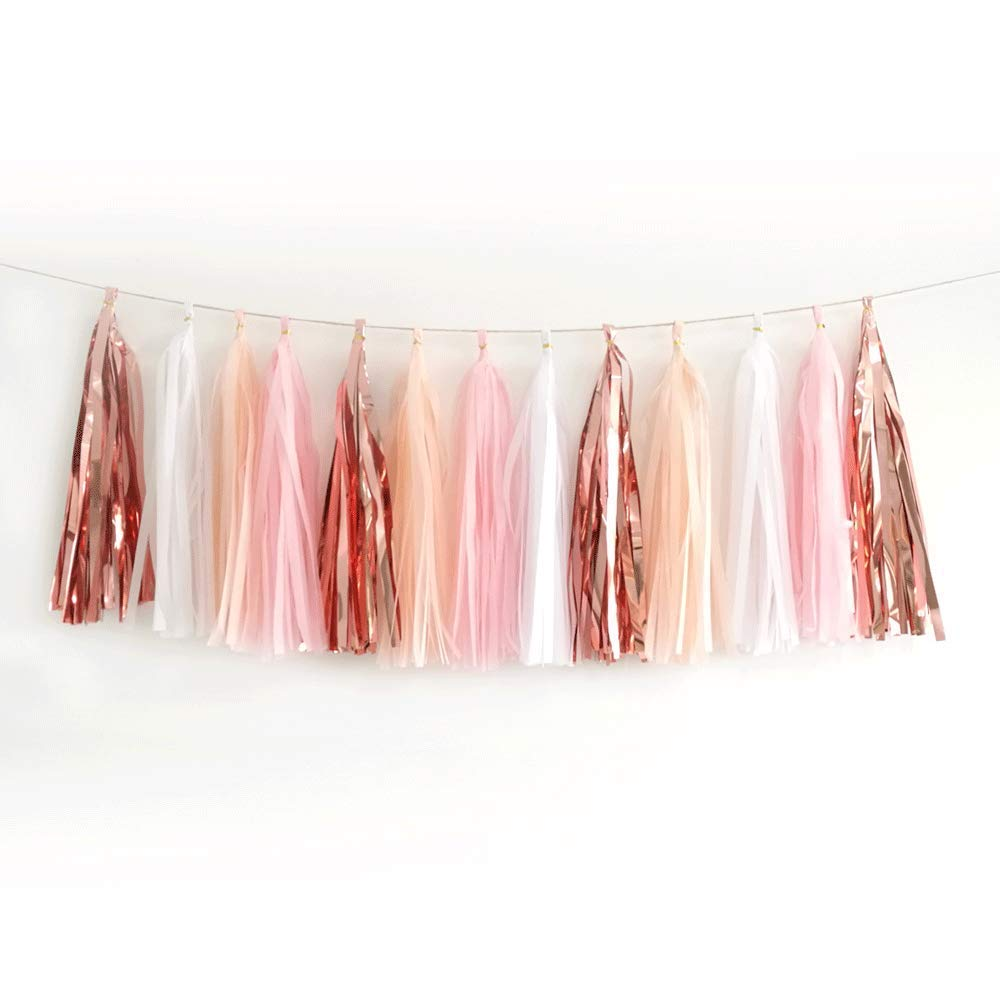 20pcs Shiny Tassel Garland Banner Tissue Paper Tassels for Wedding, Baby Shower, Table Decor,Event & Party Supplies, DIY Kits - (Rose Gold,Peach Color,Light Pink,White)