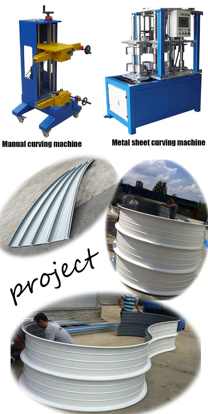 Automatic metal sheet curving machine for standing seam roofing panel with convex and concave