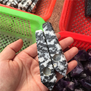 Bulk wholesale zebra stone smoking pipes quartz tobacco pipes smoking