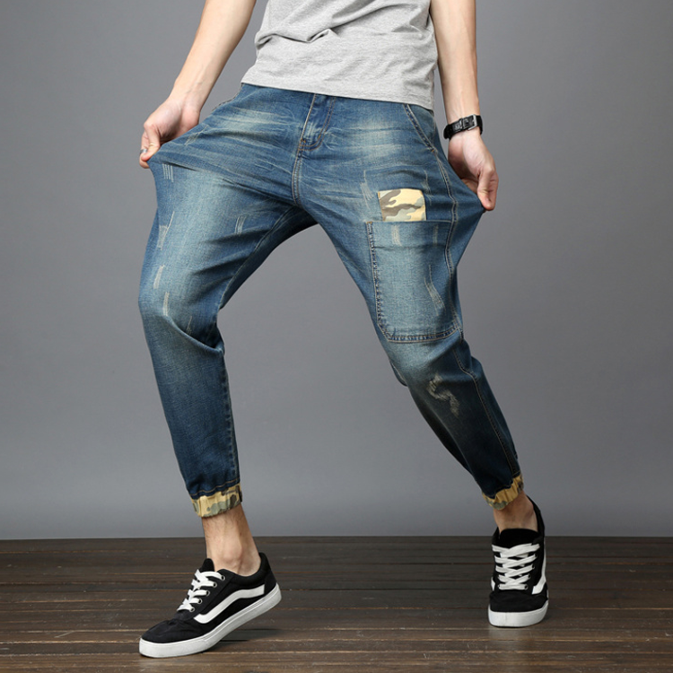 Denim clothing factory derectly oem custom men's stretchy scratch elastic bottom jeans