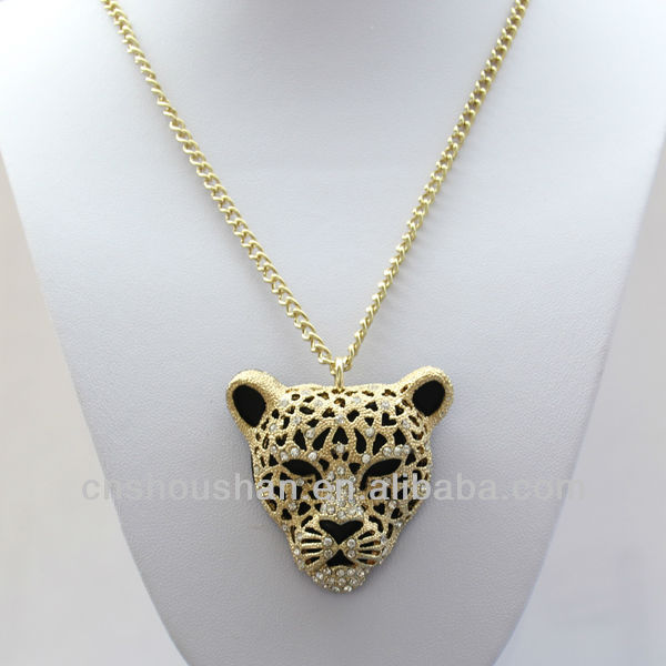 NEW fashion gold Leopard/Jaguar Necklace Jewelry with 90cm long chain