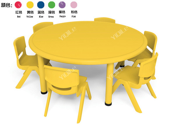 Kids Plastic Furniture School Desk And Chair Set Round Table Buy