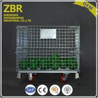 Wholesales Warehouse Wire Products Mesh Container Stackable Rolling Basket Goods Storage Steel Containers