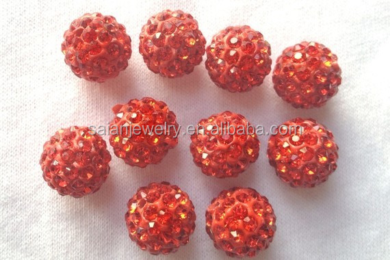 Wholesale Shamballa Beads 10MM Red Pave Bling Bling CZ Crystal Rhinestone Clay Loose Disco Ball