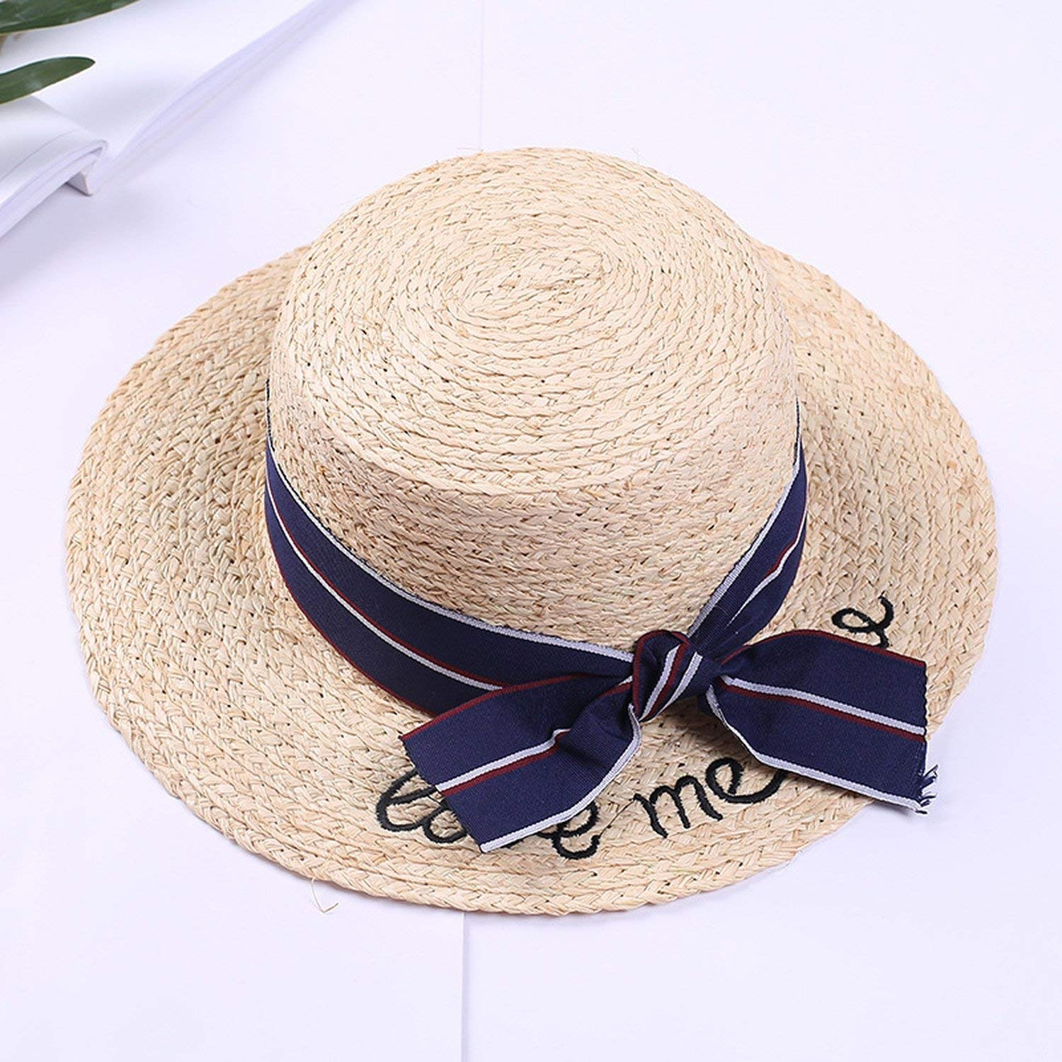 0899126b9a6 Get Quotations · Ladies straw hat Rafi Grass Flat top Hat Summer Sun Hat  Vacation Hat Fashion Bow straw