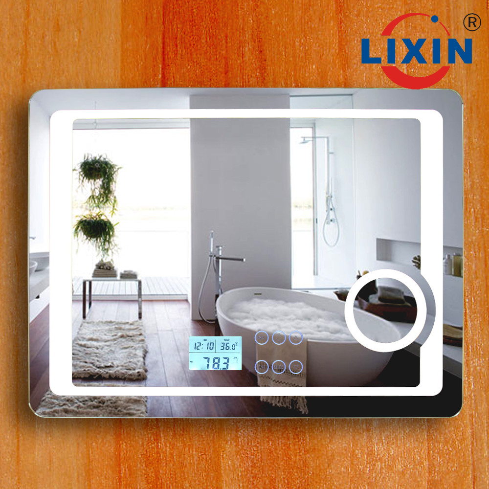 Hotel Project Frosted Led Bathroom Mirror With Digital Clock ...