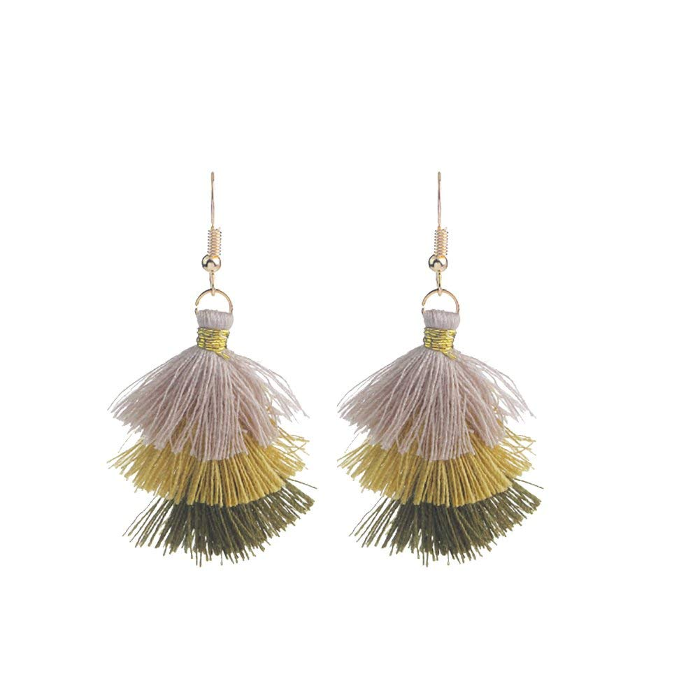 Bohemian Jewelry Multi Layered Tassel Earrings Tiered Thread Tassel Dangle Earrings for Women Girls