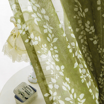 Wholesale Weeping Willow Printed Linen Sheer Curtain