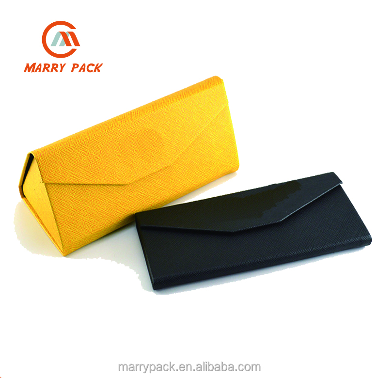 Triangle handmade foldable PU leather sunglass case folding glasses case