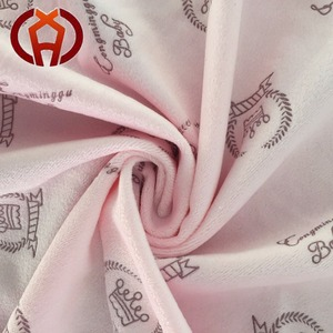 2020 New Design Poly Super Soft Short Plush Pink Crown Printing Fabric