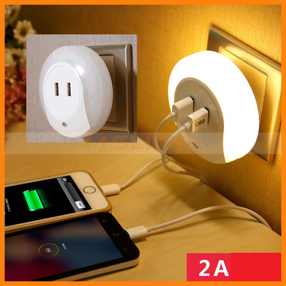 Dual USB Output Small Mini Night Light Induction Charger Socket LED Small Light