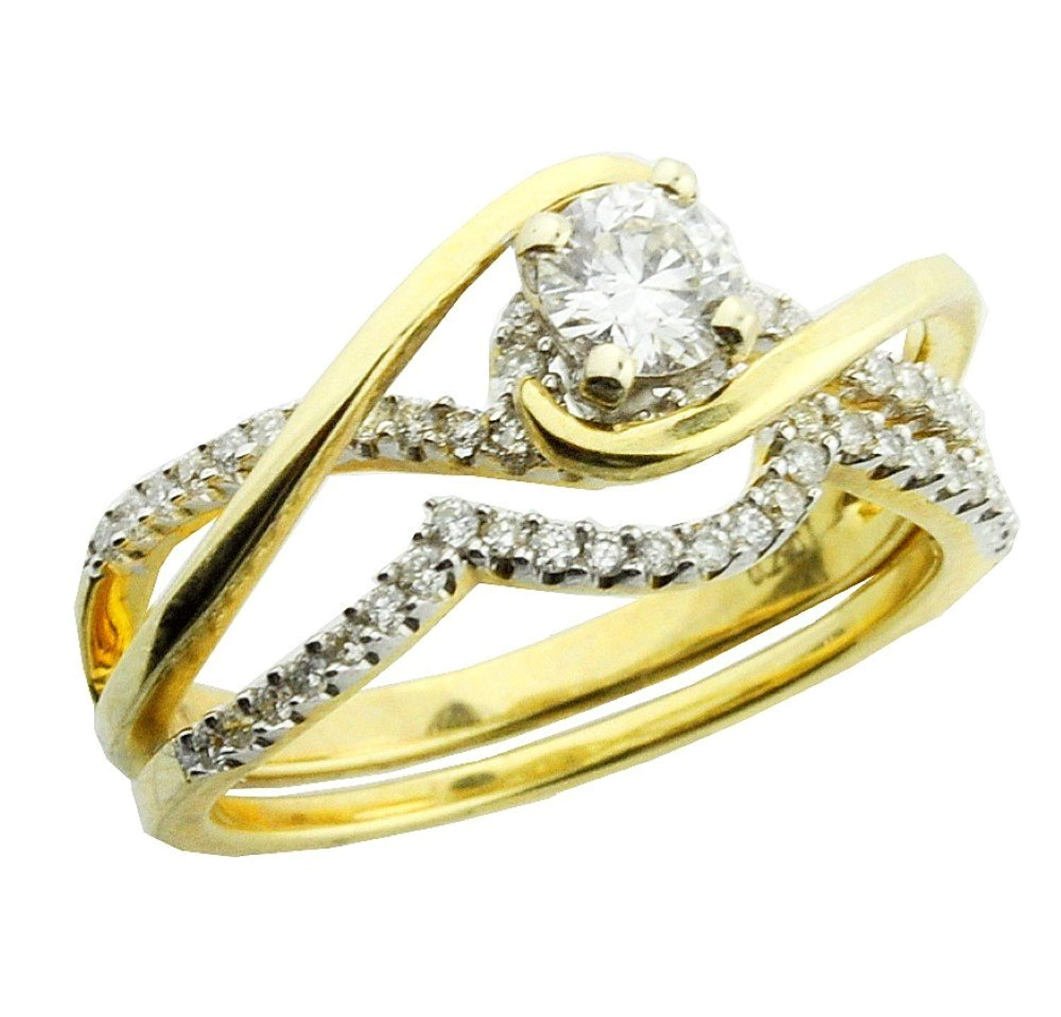 Midwest Jewellery 14K Gold Bypass Style Wedding Ring Set 0.59cttw Diamonds Engagement Ring and Band (i2/i3, i/j)