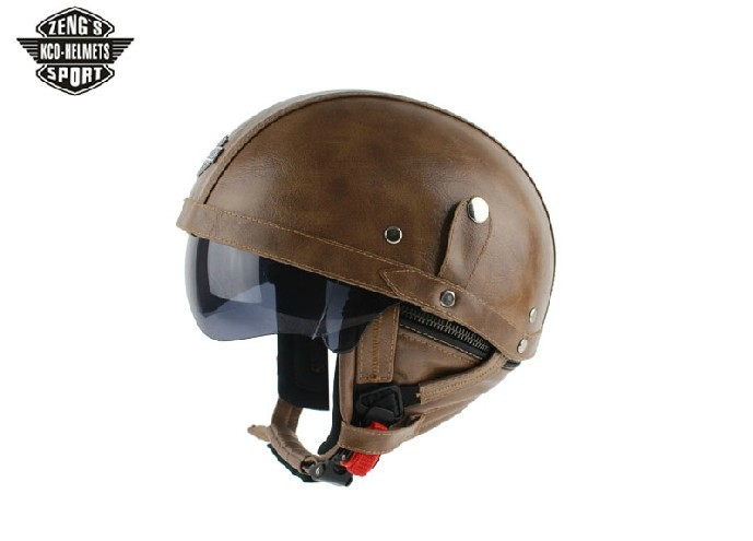 KCO MOTORBIKE DOT Summer Half Helmets Black Leather ...