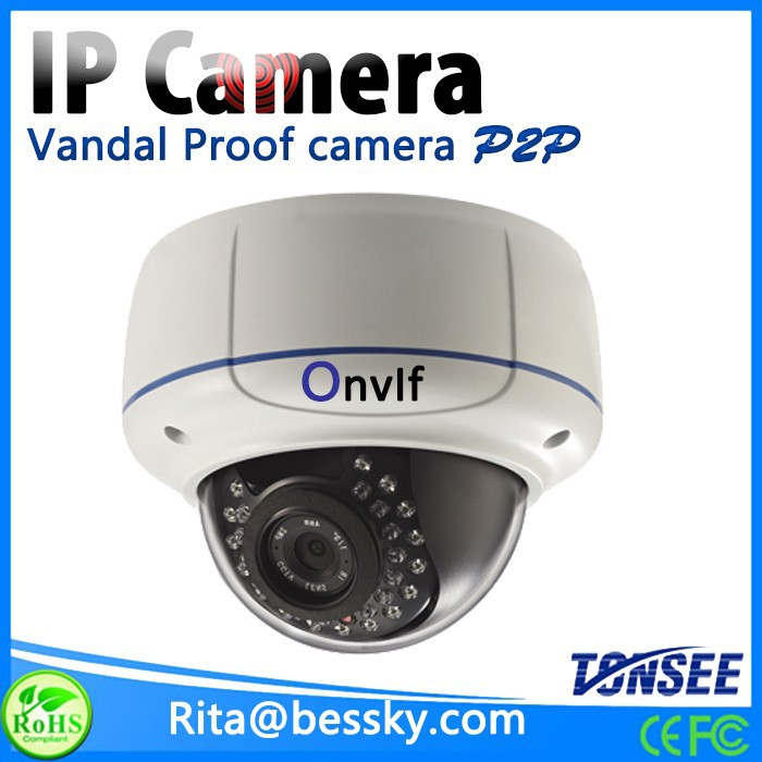 3.0 megapixel 2.8-12mm varifocal lens IR vandal proof ip dome camera