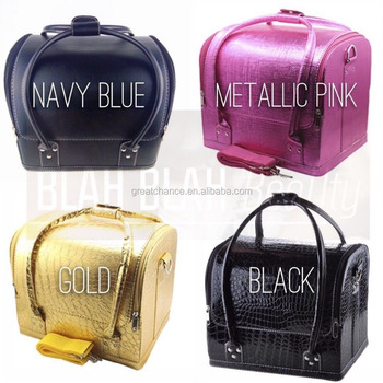 Professional Large Faux Leather Beauty Cosmetic Makeup Vanity Case Nail Art Box