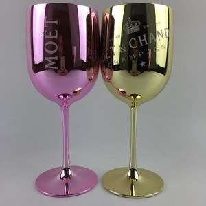 Electroplated Gold Pink Color Branded Plastic Wine Goblets Glass For Party Events