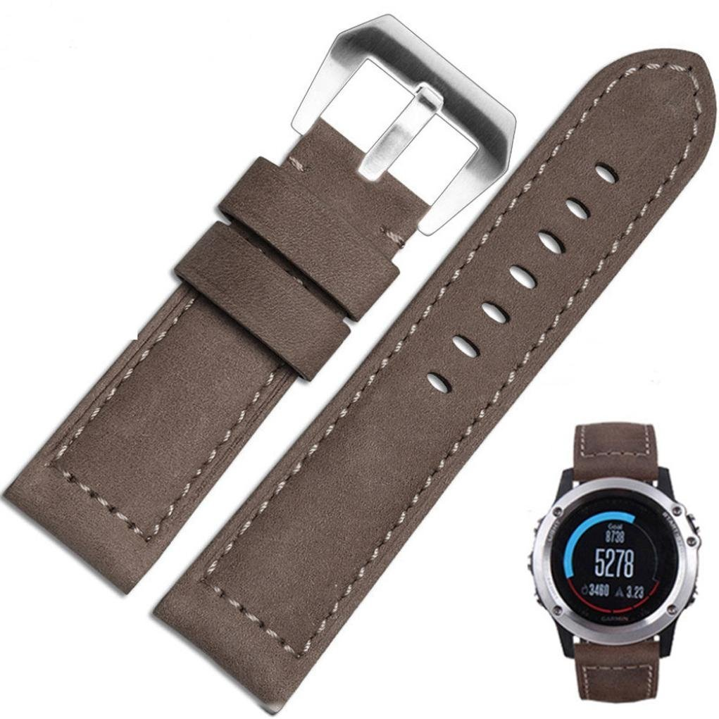 Voberry Genuine Leather Watch Replacement Band Strap + Lugs Adapters For Garmin Fenix 3 (Coffee)