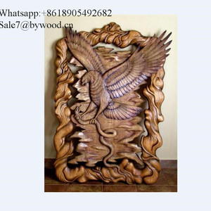 Home decoration handmade wall hanging carved eagle wood wall paneling decorative 3d wall panels