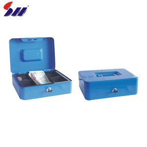 Good quality new design stainless steel portable metal cash box with handle for money