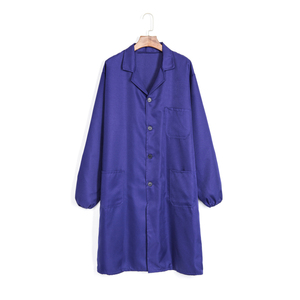 Classical style high quality polyester-cotton blue lab coat working uniform