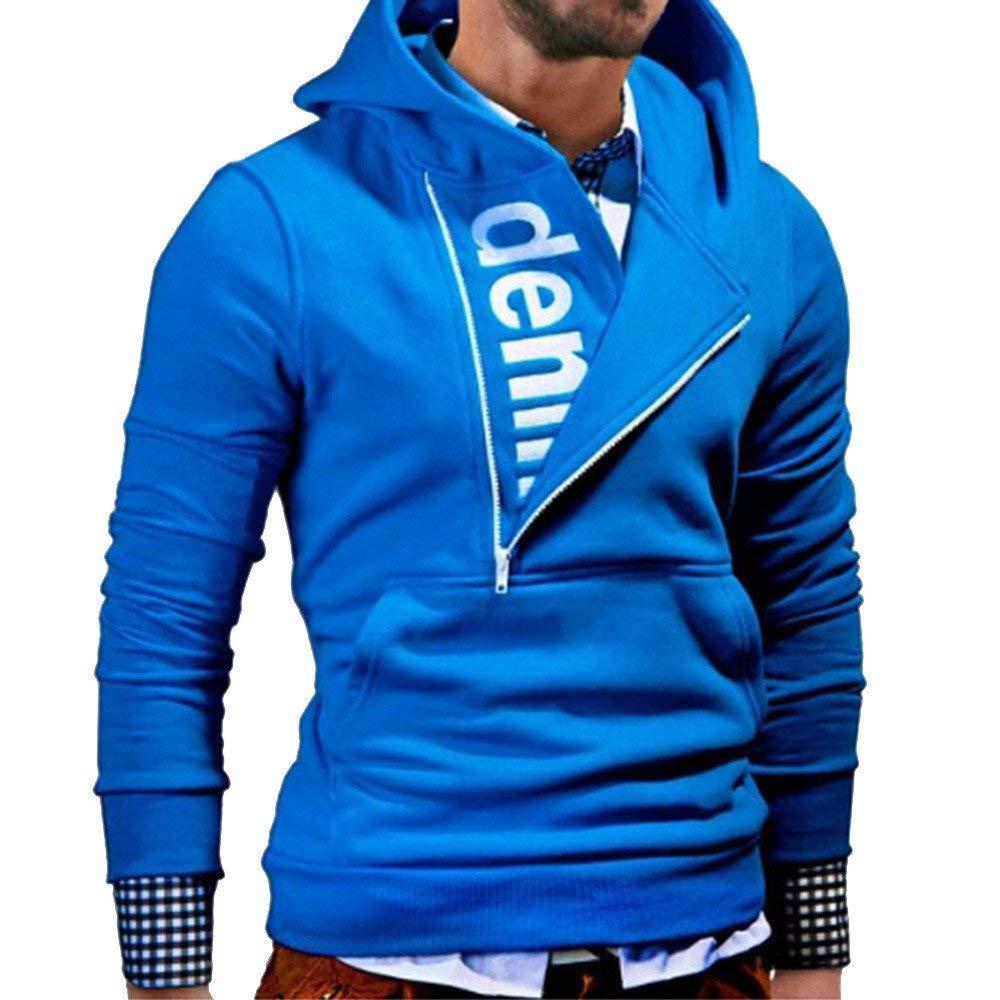 Clearance Sale! ! Charberry Mens Hooded Sleeve Side Zipper Contrast Color Long Sleeve Sweatshirt Tops Jacket Coat Outwear (US-L2/CN-L3, Blue)