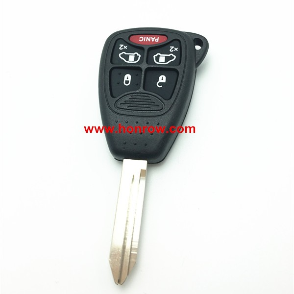 Chrysler 4+1 Button remote key shell blank case with rubber button for Chrysler car key